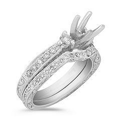 Three-Stone Vintage Diamond Engagement Ring with Pavé Setting