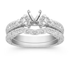 Three-Stone Vintage Diamond Engagement Ring with Pave Setting