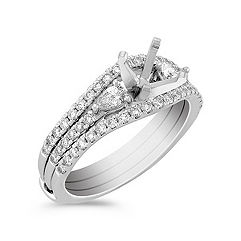 Three-Stone Pear Shaped and Round Diamond Wedding Set