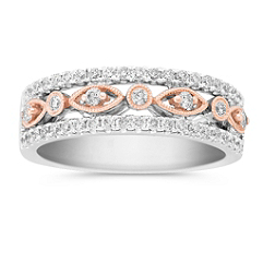 Round Diamond Anniversary Band in Two-Tone Gold