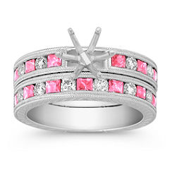 Vintage Princess Cut Pink Sapphire and Round Diamond Wedding Set