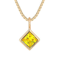 Princess Cut Yellow Sapphire Pendant (18 in.)