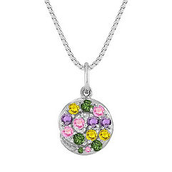 Round Multi-Colored Sapphire Pendant (18 in.)