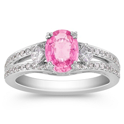 Oval Pink Sapphire, Round and Calla Cut Diamond Ring