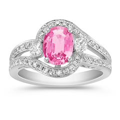 Oval Pink Sapphire, Calla Cut and Round Diamond Ring