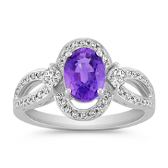 Oval Lavender Sapphire, Calla and Round Diamond Ring
