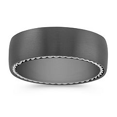 Black Titanium Ring with Silver Inlay (7.5mm)