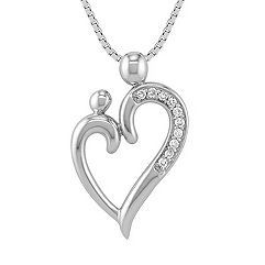 Round Diamond Mother & Child Heart Pendant (18 in.)