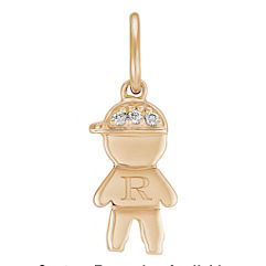 Round Diamond Little Boy Charm