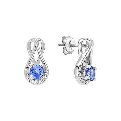 Round Kentucky Blue Sapphire and Diamond Earrings