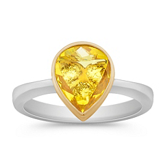 Pear Shape Yellow Sapphire and Round Diamond Ring in Two-Tone Gold