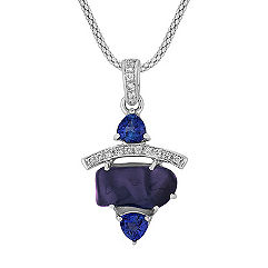 Polished Rough Sapphire, Trillion Sapphire and Round Diamond Pendant (18 in.)