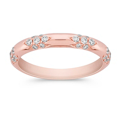 Round Diamond Anniversary Band in Rose Gold
