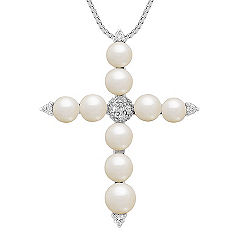 4.5mm Cultured Freshwater Pearl and Diamond Cross Pendant (18 in.)