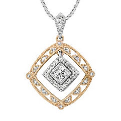 Round and Princess Cut Diamond Pendant in Two-Tone Gold (18 in.)