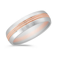 14k White and Rose Gold Comfort Ring (6mm)