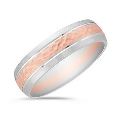 14k White and Rose Gold Comfort Fit Ring (6mm)