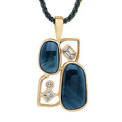Freeform Bluegreen Sapphire and Fancy Shape and Round Diamond Pendant (20 in.)