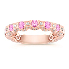 Round Pink Sapphire and Diamond Wedding Band in Rose Gold