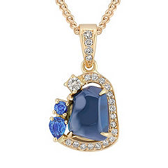 Polished Rough, Pear Shaped, and Round Sapphire, and Round Diamond Pendant (18 in.)