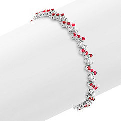Round Ruby and Diamond Bracelet (7 in.)