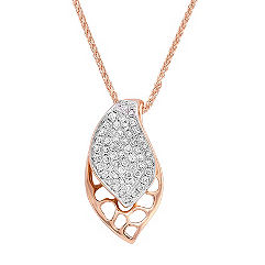 Round Diamond Pendant in Rose Gold (18 in.)