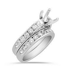 Cathedral Diamond Wedding Set with Channel Setting