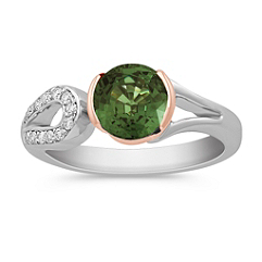Round Fancy Green Sapphire and Diamond Ring in 14k Rose and White Gold