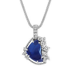 Polished Rough Sapphire, Marquise and Round Diamond Pendant (22 in.)
