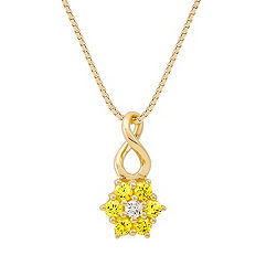 Round Yellow Sapphire and Diamond Pendant (18 in.)