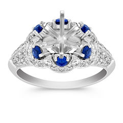 Halo Vintage Sapphire and Diamond Engagement Ring with Pave Setting