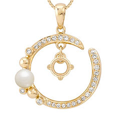 4mm Cultured Freshwater Pearl and 1/5 ct. t.w. Round Diamond Pendant (18)