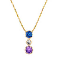 Round Blue and Lavender Sapphire and Calla Cut Diamond Pendant (22 in.)