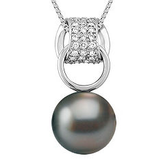 11mm Cultured Tahitian Pearl and 1/4 ct. t.w. Round Diamond Pendant (18 in.)