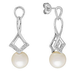 8mm Cultured Freshwater Pearl and Round Diamond Earrings