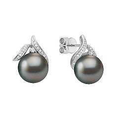 11mm Cultured Tahitian Pearl and 1/5 ct. t.w. Round Diamond Earrings