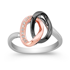 Round Diamond Ring in 14k White and Rose Gold