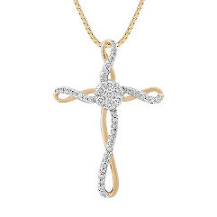 Round Diamond Cross Pendant in Two-Tone Gold (18 in.)