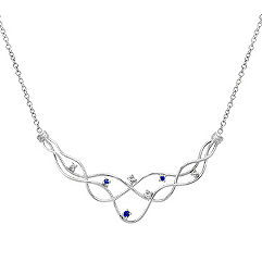 Round Sapphire and Diamond Necklace (17 in.)