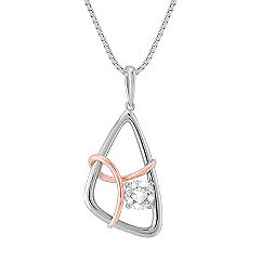 Round White Sapphire Pendant in 14k White and Rose Gold (18 in.)