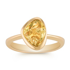 Freeform Yellow Sapphire and Diamond Ring