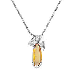 Freeform Yellow Sapphire and Fancy Shape Diamond Pendant (20 in.)