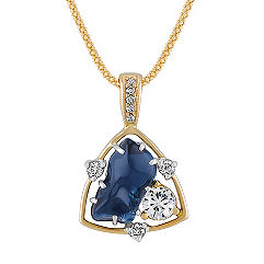 Freeform Sapphire, Fancy Shaped Yellow Sapphire and Diamond Pendant in Two-Tone Gold (22 in.)