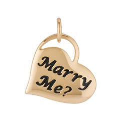 14k Yellow Gold Marry Me? Engraved Heart Charm