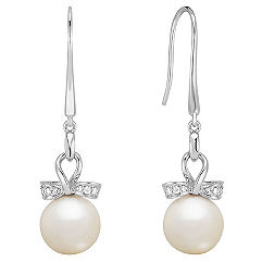 9mm Cultured Freshwater Pearl and Diamond Earrings