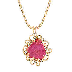 Freeform Rough Ruby Slab and Round Diamond Pendant (22 in.)