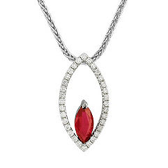Marquise Ruby and Round Diamond Pendant (18)