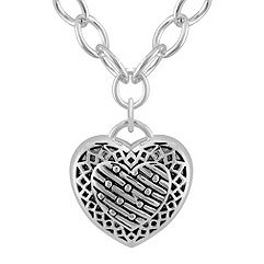 Antiqued Sterling Silver Heart Pendant (20 in.)