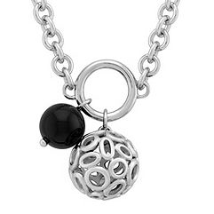 Sterling Silver and Black Agate Necklace (20 in.)