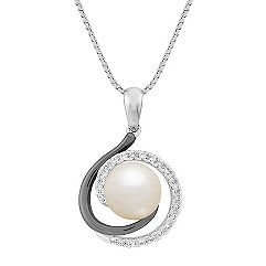 8mm Cultured Freshwater Pearl and 1/6 ct. t.w. Round Diamond Pendant
